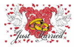 Just Married Large Flag - 5' x 3'.